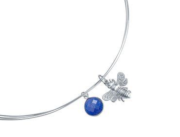 Gemshine - Damen - Halskette - Anhänger - 925 Silber - BEE - Biene - Saphir - Blau - 45 cm