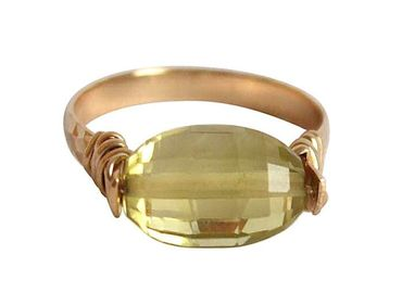 Gemshine - Damen - Ring - Spannring - Vergoldet - Lemon Quarz - Gelb