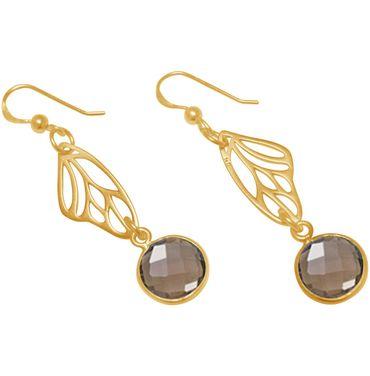 Gemshine - Damen - Ohrringe - 925 Silber - Vergoldet - Schmetterling Flügel - Rauchquarz - Braun - 4 cm