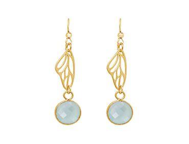 Gemshine - Damen - Ohrringe - 925 Silber - Vergoldet - Schmetterling Flügel - Chalcedon - Meeresgrün - 4 cm