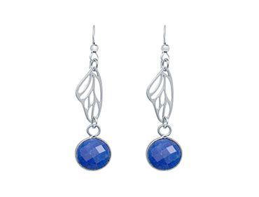Gemshine - Damen - Ohrringe - 925 Silber - Schmetterling Flügel - Saphir - Blau - 4 cm