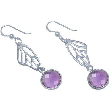 Gemshine - Damen - Ohrringe - 925 Silber - Schmetterling Flügel - Amethyst - Violett - Lila - 4 cm