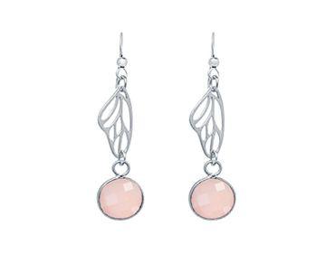 Gemshine - Damen - Ohrringe - 925 Silber - Schmetterling Flügel - Rosenquarz - Rosa - 4 cm