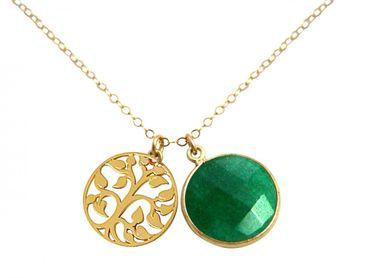 Gemshine - Damen - Halskette - Anhänger - LEBENSBAUM - 925 Silber Vergoldet - Smaragd - Grün - 45 cm