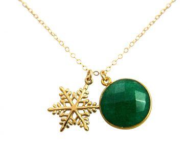 Gemshine - Damen - Halskette - Anhänger - SCHNEEFLOCKE - 925 Silber Vergoldet - Smaragd - Grün - 45 cm