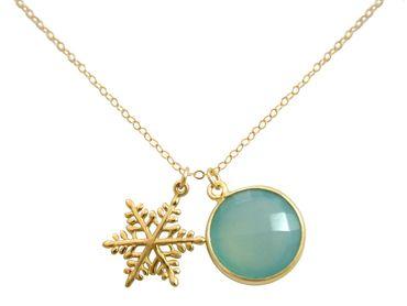 Gemshine - Damen - Halskette - Anhänger - SCHNEEFLOCKE - 925 Silber Vergoldet - Chalcedon - Meeresgrün - 45 cm