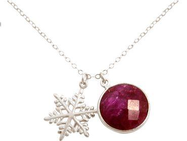 Gemshine - Damen - Halskette - Anhänger - SCHNEEFLOCKE - 925 Silber - Rubin - Rot - 45 cm