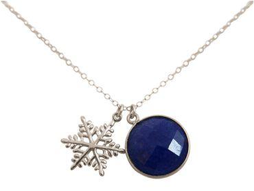Gemshine - Damen - Halskette - Anhänger - SCHNEEFLOCKE - 925 Silber - Saphir - Blau - 45 cm