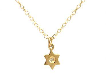Gemshine - Damen - Halskette - Anhänger - STERN - Diamant - Brillant - 925 Silber - Vergoldet - 1 cm