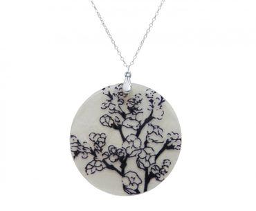 Gemshine - Damen - Halskette - Anhänger - Medaillon - Perlmutt - CHERRY BLOSSOM - 925 Silber - Schwarz Blau - 5 cm