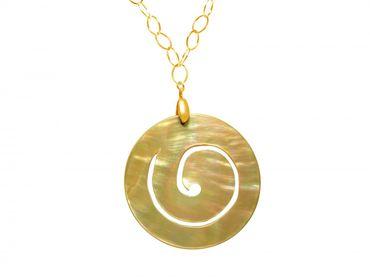 Gemshine - Damen - Halskette - Anhänger - Medaillon - Vergoldet - Perlmutt - Creme Gold - 5 cm