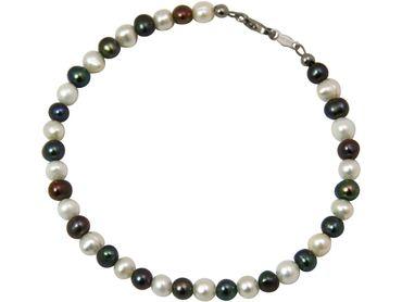 Gemshine - Damen - Armband - Perlen - Tahiti - Grau Weiß - 925 Silber - 19 cm