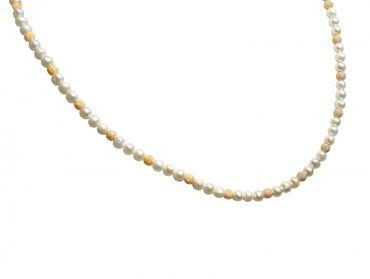Gemshine - Damen - Halskette - Zuchtperlen - Weiß - Vergoldet - 45 cm
