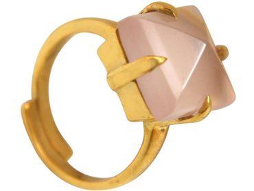 Gemshine - Damen - Ring - 925 Silber Vergoldet - Chalcedon - Rosa - 12mm - Größenverstellbar