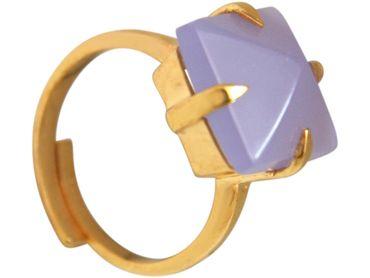 Gemshine - Damen - Ring - 925 Silber Vergoldet - Chalcedon - Lavendel Lila - 12mm - Größenverstellbar