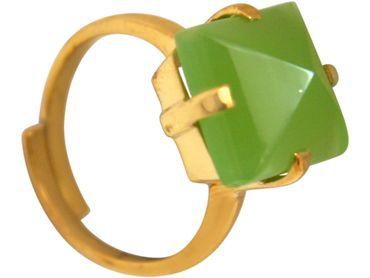Gemshine - Damen - Ring - 925 Silber Vergoldet - Chalcedon - Meeresgrün - 12mm - Größenverstellbar