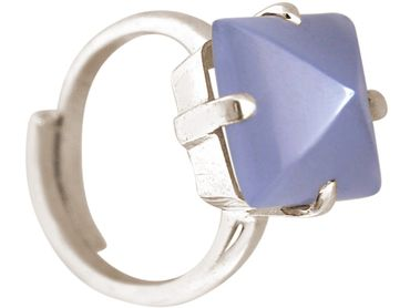 Gemshine - Damen - Ring - 925 Silber - Chalcedon - Lavendel Lila - 12mm - Größenverstellbar