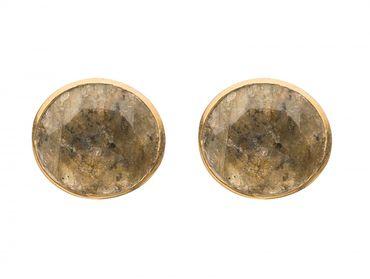 Gemshine - Damen - Ohrringe - 925 Silber vergoldet - Labradorit - Grau - 10mm