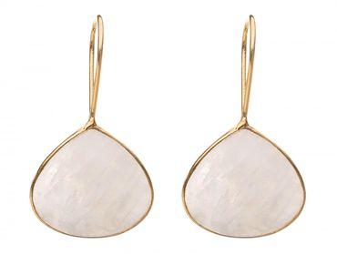 Gemshine - Damen - Ohrringe - 925 Silber Vergoldet - Mondstein - Weiss - 4 cm