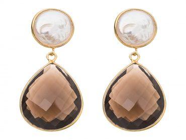 Gemshine - Damen - Ohrringe - 925 Silber Vergoldet - Perlen - Rauchquarz - Weiss - Braun - 4 cm