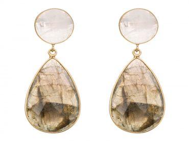 Gemshine - Damen - Ohrringe - 925 Silber Vergoldet - Labradorit - Mondstein - Grau - Weiss - 5 cm
