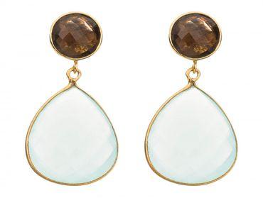 Gemshine - Damen - Ohrringe - 925 Silber Vergoldet - Chalcedon - Rauchquarz - Meeresgrün - Braun - 4 cm