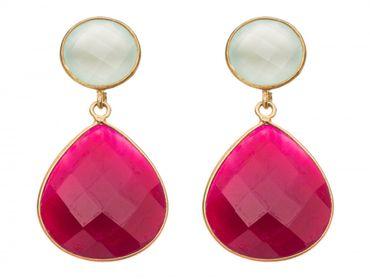 Gemshine - Damen - Ohrringe - 925 Silber Vergoldet - Chalcedon - Rubin - Meeresgrün - Rot - 4 cm