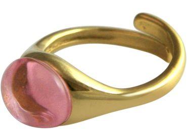 Gemshine - Damen - Ring - 925 Silber Vergoldet - Rosenquarz - Rosa - Größenverstellbar - 10mm