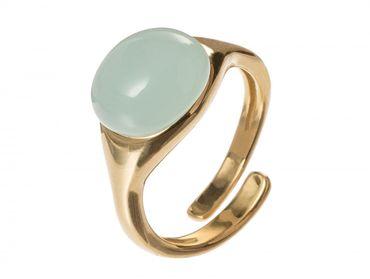 Gemshine - Damen - Ring - 925 Silber Vergoldet - Chalcedon - Meeresgrün - Größenverstellbar - 10mm