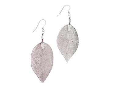 Gemshine - Damen - Ohrringe - 925 Sterling Silber - Blatt - Rose - Natur - 7 cm