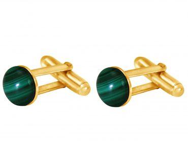 Gemshine - Manschettenknöpfe - Vergoldet - Malachit - Grün - 10 mm