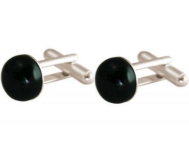Gemshine - Manschettenknöpfe - 925 Silber - Onyx - Schwarz - 12 mm