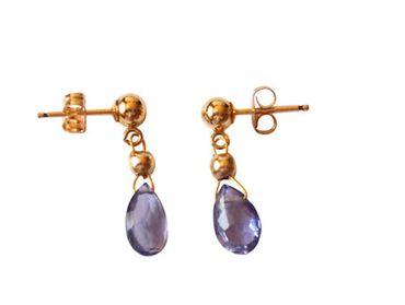Gemshine - Damen - Iolithen - Ohrringe - Tropfen - Lila - Blau - Vergoldet - 1,5 cm