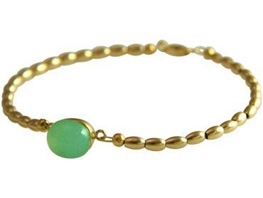 Gemshine - Damen - Armband - Vergoldet - Chalcedon - Meeresgrün - 18 cm