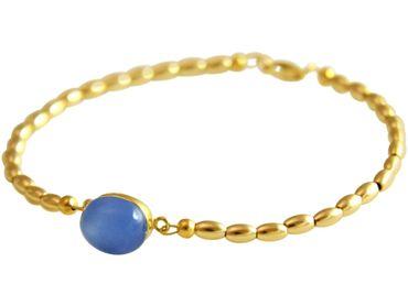 Gemshine - Damen - Armband - Vergoldet - Chalcedon - Blau - 18 cm