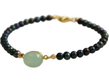 Gemshine - Damen - Armband -Vergoldet - Tahiti Grau Perlen - Chalcedon - Meeresgrün - 18 cm