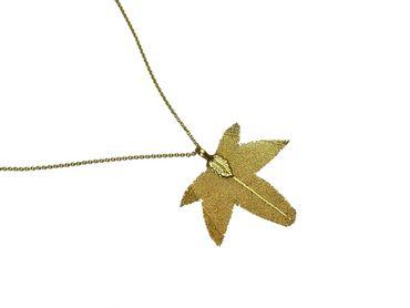 Gemshine - Damen - Halskette - Anhänger - Vergoldet - Blatt - Ahorn - Natur - 7 cm