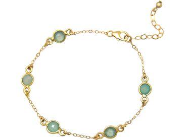 Gemshine - Damen - Armband - 925 Sterling Silber - Vergoldet - Aqua - Chalzedon - 18 cm