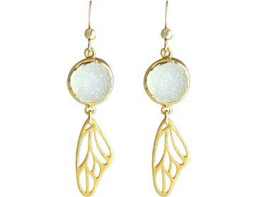 Gemshine - Damen - Ohrringe - Schmetterling - Flügel - WINGS - 925 Silber - Vergoldet –- DRUZY - Weiß - Quarz - 5 cm