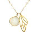 Gemshine - Damen - Halskette - Anhänger - Schmetterling - Flügel - WINGS - 925 Silber - Vergoldet –- DRUZY - Weiß - Quarz