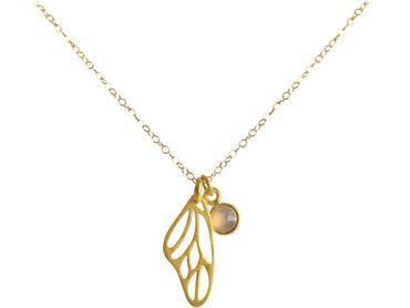 Gemshine - Damen - Halskette - Anhänger - Schmetterling - Flügel - WINGS - 925 Silber - Vergoldet –- Rose Quarz - 45 cm