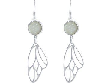 Gemshine - Damen - Ohrringe - Schmetterling - Flügel - WINGS - 925 Silber –- DRUZY - Weiß - Quarz - 6,5 cm