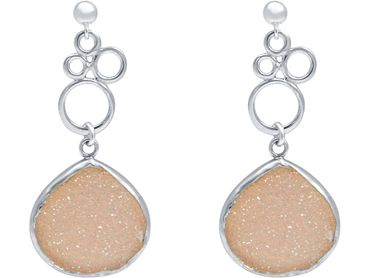 Gemshine - Damen - Ohrringe - BUBBLES - 925 Silber –- DRUZY - Rose Quarz - 4 cm