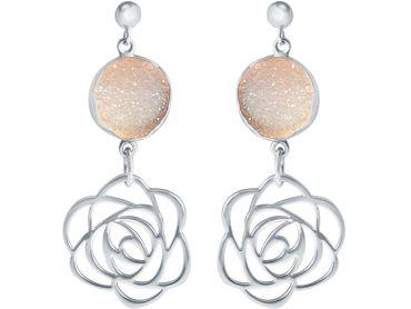 Gemshine - Damen - Ohrringe - 925 Silber - ART DECO - Blume - Rose –- DRUZY - Quarz - 4,5 cm