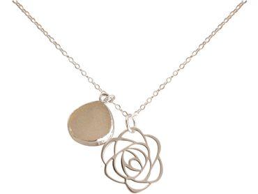 Gemshine - Damen - Halskette - Anhänger - 925 Silber - ART DECO - Blume - 925 Silber –- DRUZY - Rose Quarz - 45 cm