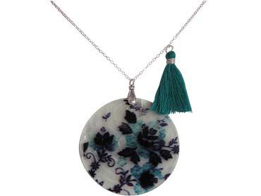 Gemshine - Damen - Halskette - Anhänger - Medaillon - Perlmutt - FLOWERS - 925 Silber - Schwarz - Blau - 5 cm