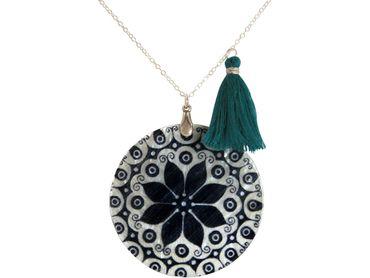 Gemshine - Damen - Halskette - Anhänger - Medaillon - Perlmutt - MANDALA - 925 Silber - Schwarz - Blau - 5 cm
