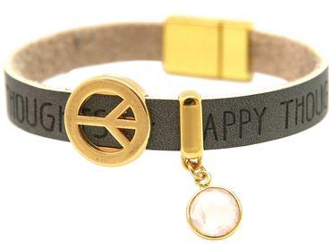 Gemshine - Damen - Armband - Frieden - Peace - WISHES - Rosenquarz - Anthrazit - Grau - Magnetverschluss