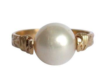 Gemshine - Damen - Ring - Spannring - Vergoldet - Zuchtperle - Weiß - 8mm