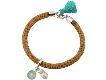 Gemshine - Damen - Armband - 925 Silber - Edelstein - Aqua Chalcedon - Eule - Grün - Braun